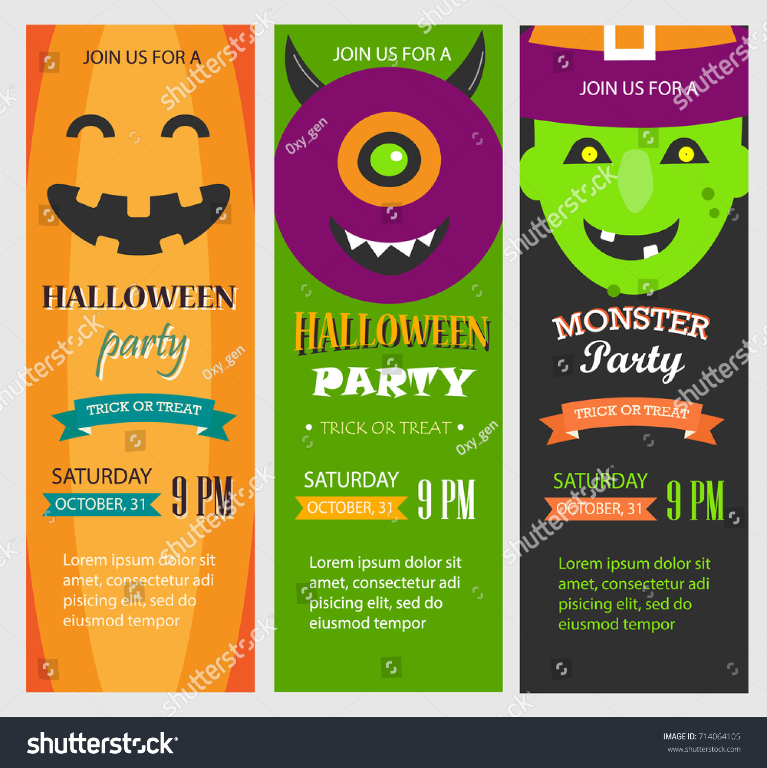Halloween Party Invitations Vertical Banners Set Stock Vector ...