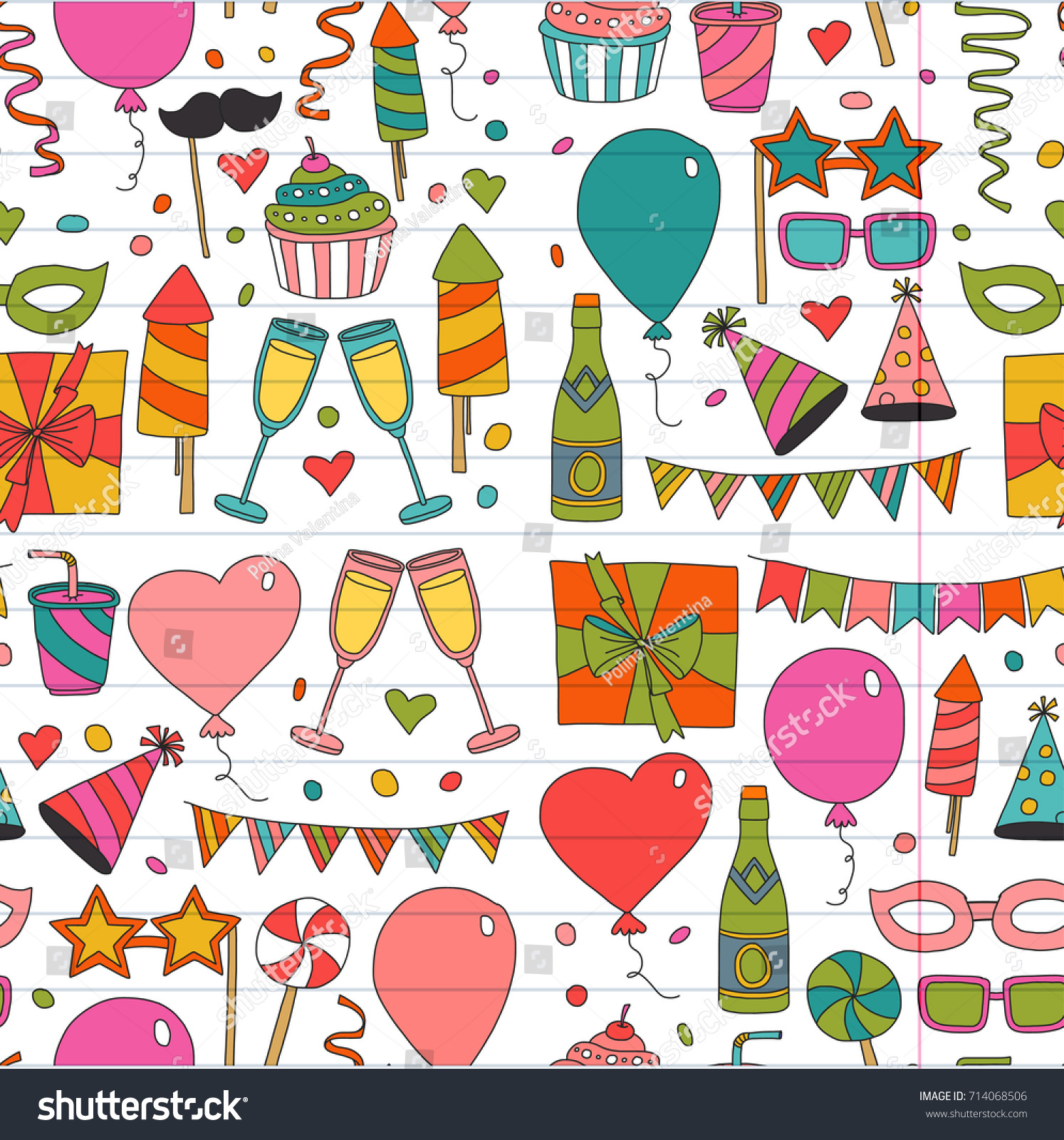 Kids Party Children Drawing Birthday Party Stock Vector