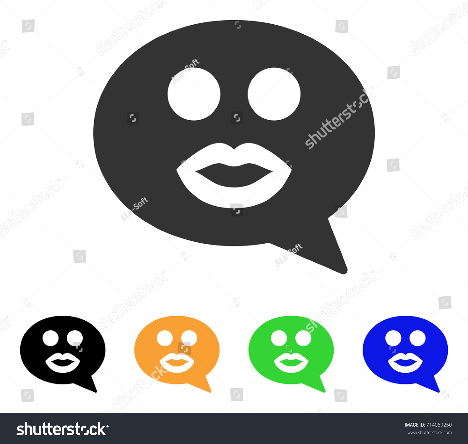 Kiss Smiley Message Icon Vector Illustration Style Is A Flat Iconic