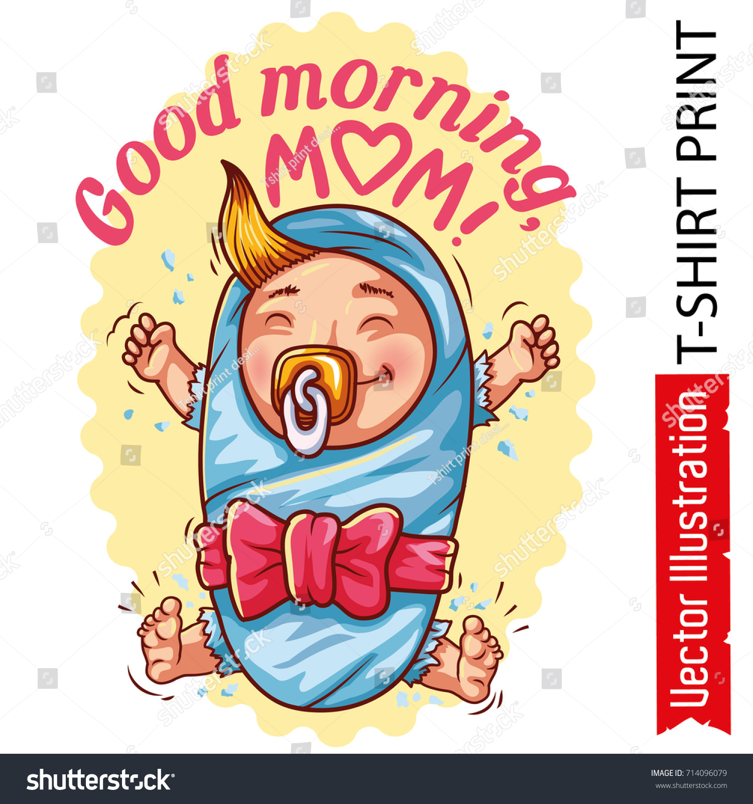 Print Tshirt Good Morning Mom Picture Stock Vektorgrafik Lizenzfrei