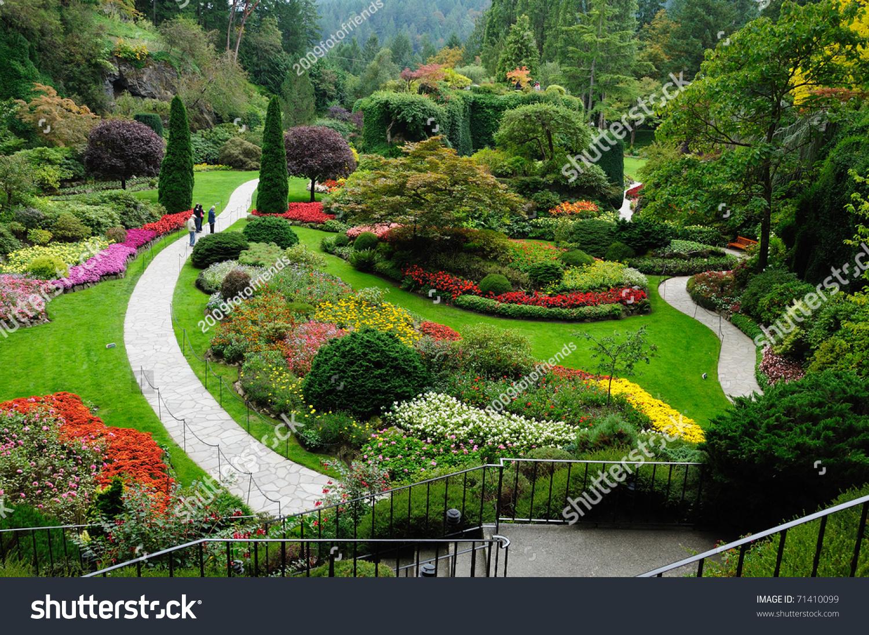 Landscape butchart garden spring victoria british stock for Gardening tools victoria bc