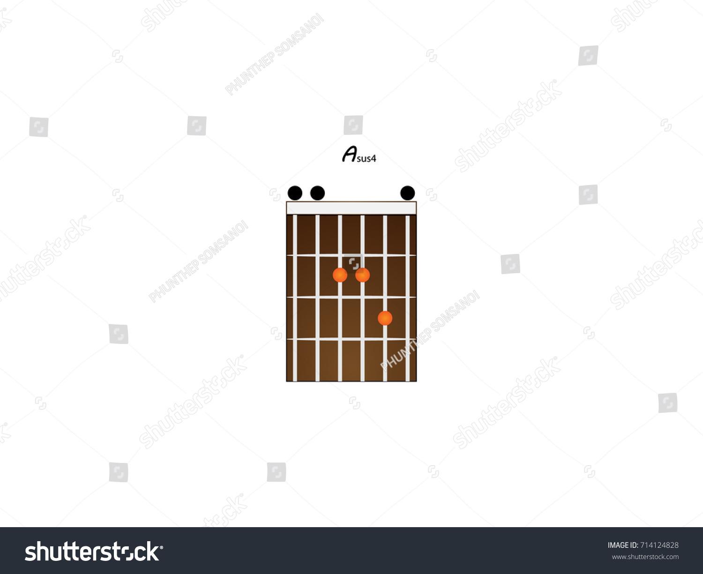 Chord Guitar Asus 4 Stock Vector Royalty Free 714124828 Shutterstock