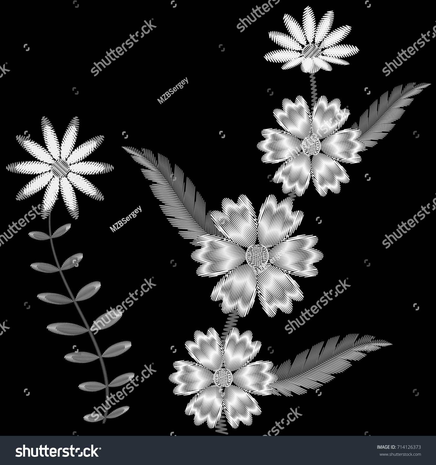 Embroidery flowers print on shirts embroidered stock vector embroidery of flowers for print on shirts the embroidered ornament from flower patterns on a bankloansurffo Images