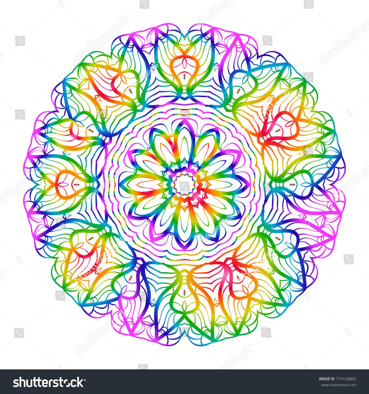 rainbow color handdrawn henna ethnic mandala stock vector