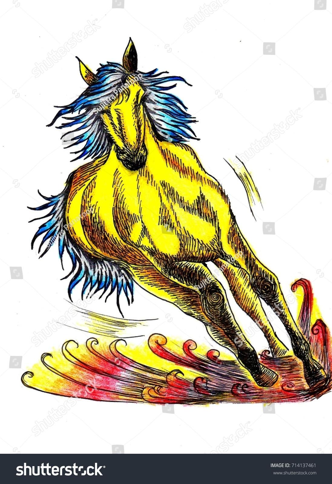 Golden Horse Running Desert Colorful Horse Stock Illustration 714137461