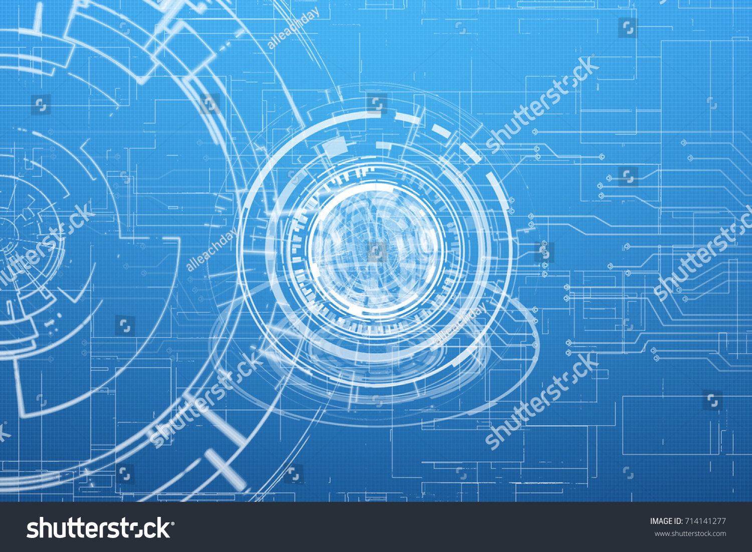 Abstract Blueprint Hi Tech Hud Interface Stock Illustration ...