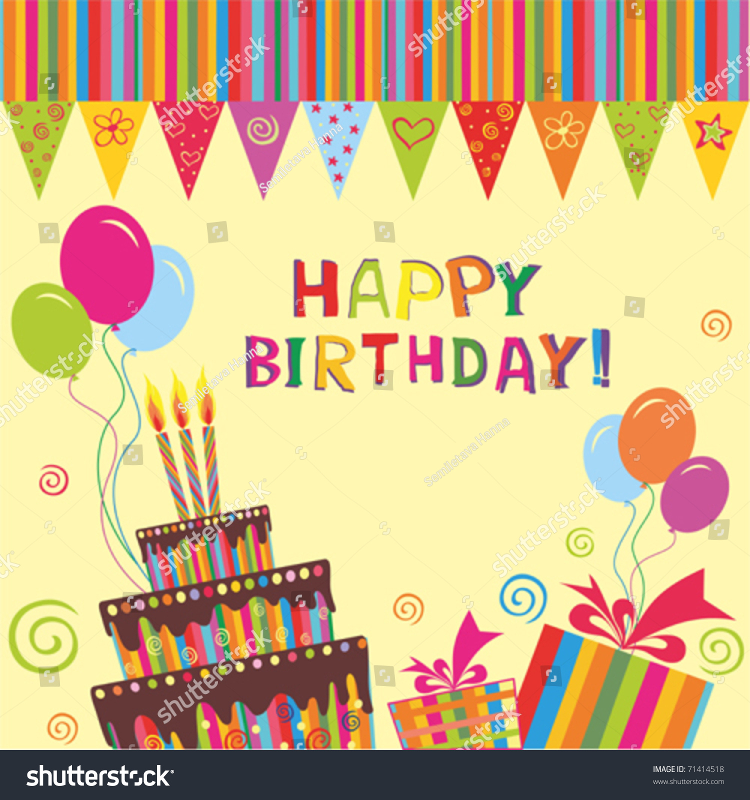 Vector Birthday Cake Candles Greeting Card Vector 71414518 – Vector Birthday Card