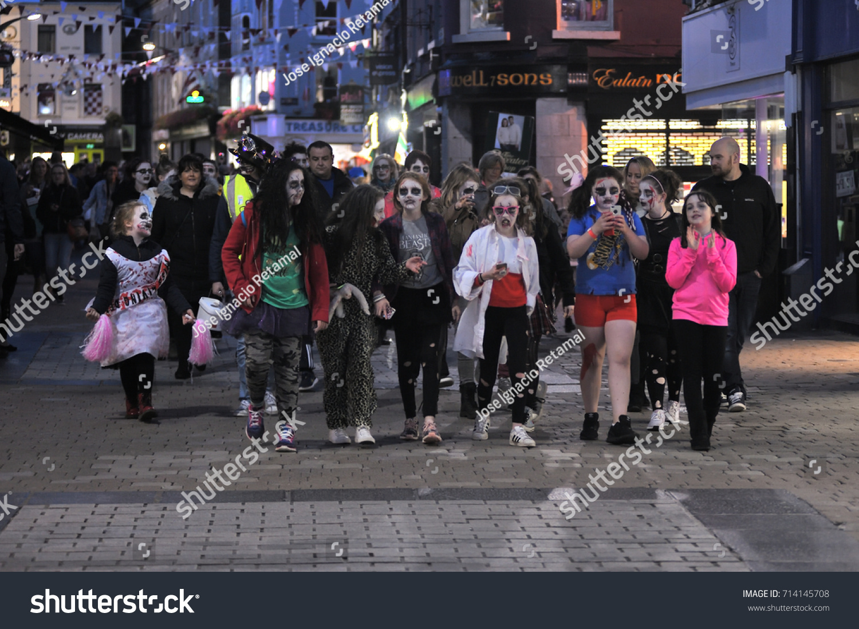 zombie walk shop street big croud stock photo edit now 714145708