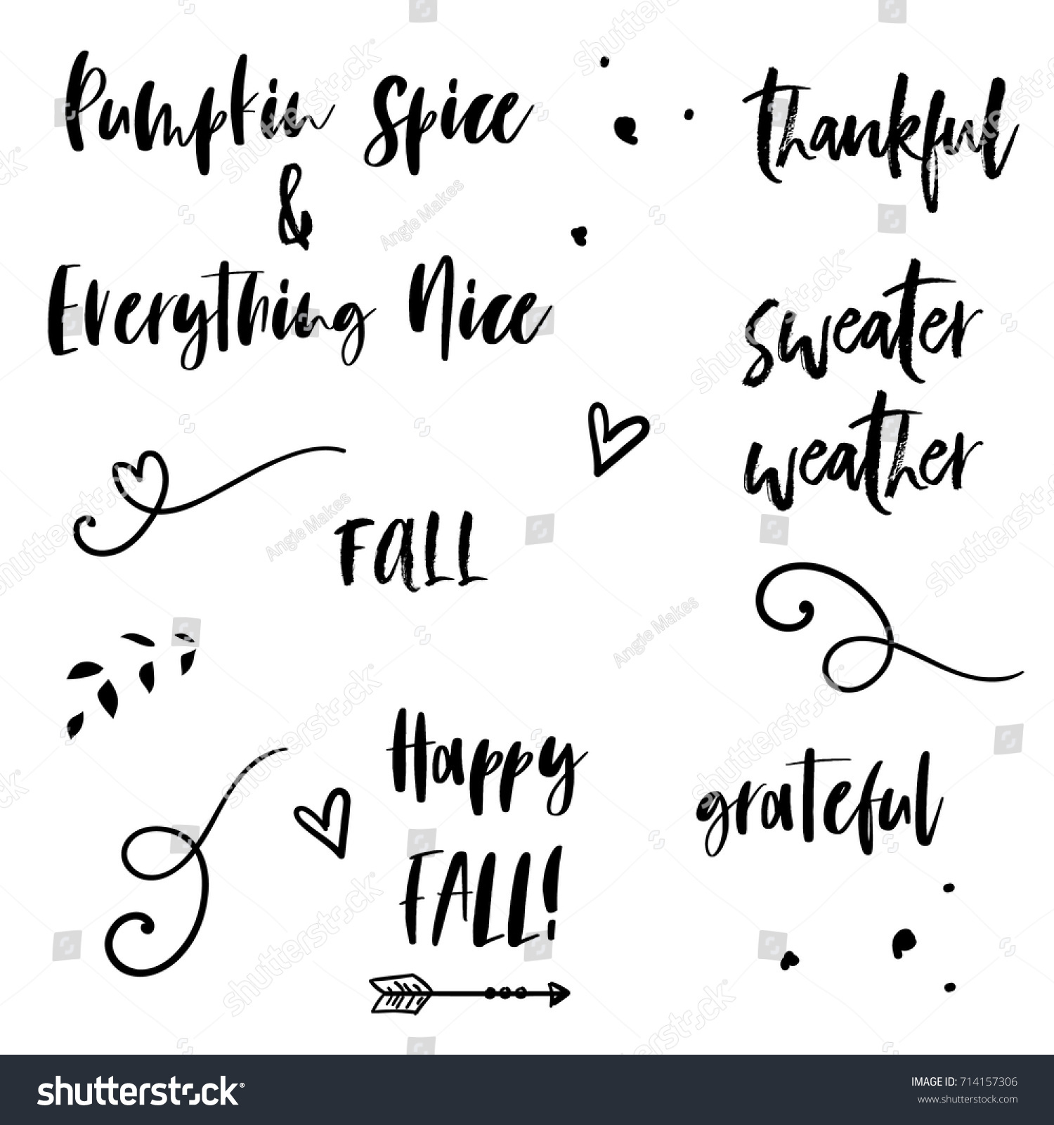 cute fall quotes modern calligraphy stock vector (royalty free