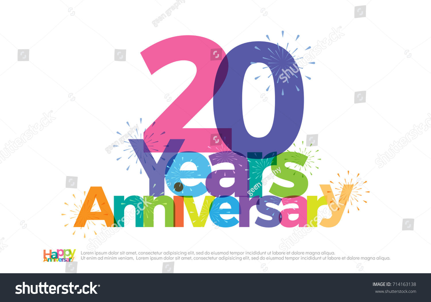 20 Years Anniversary Celebration Colorful Logo Stock Vector