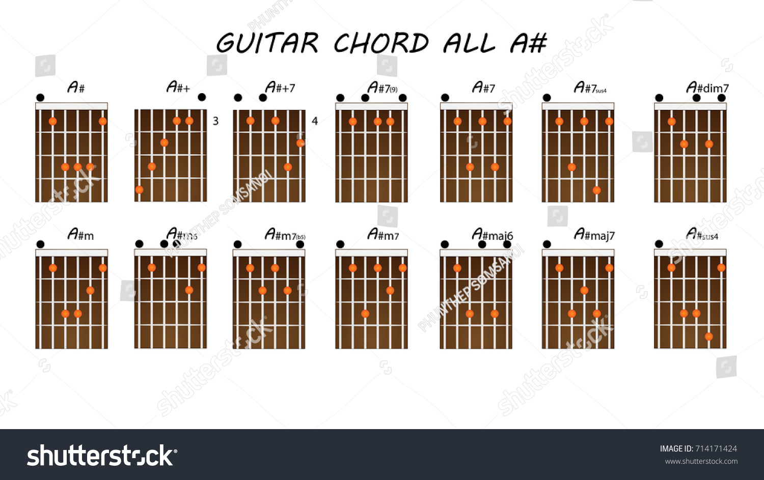 All Guitar Chords A Stock Vector Royalty Free 714171424 Shutterstock