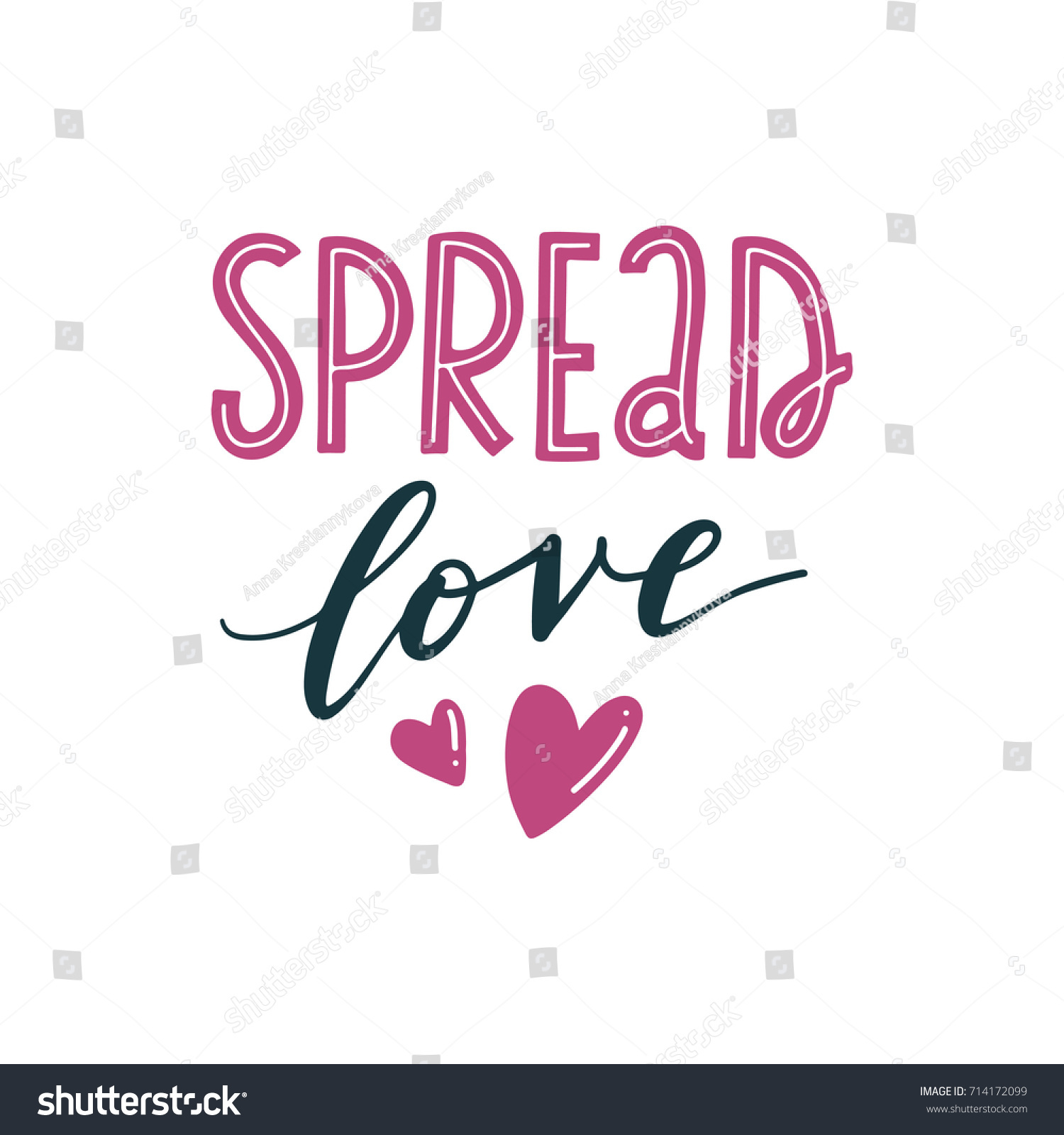 Spread Love Handlettered Love Quote Print Stock Vector ...