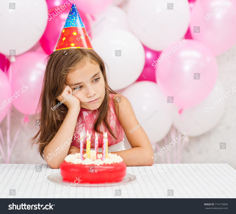 Sad Girl Party Hat Birthday Cake Stock Photo Edit Now 714173836