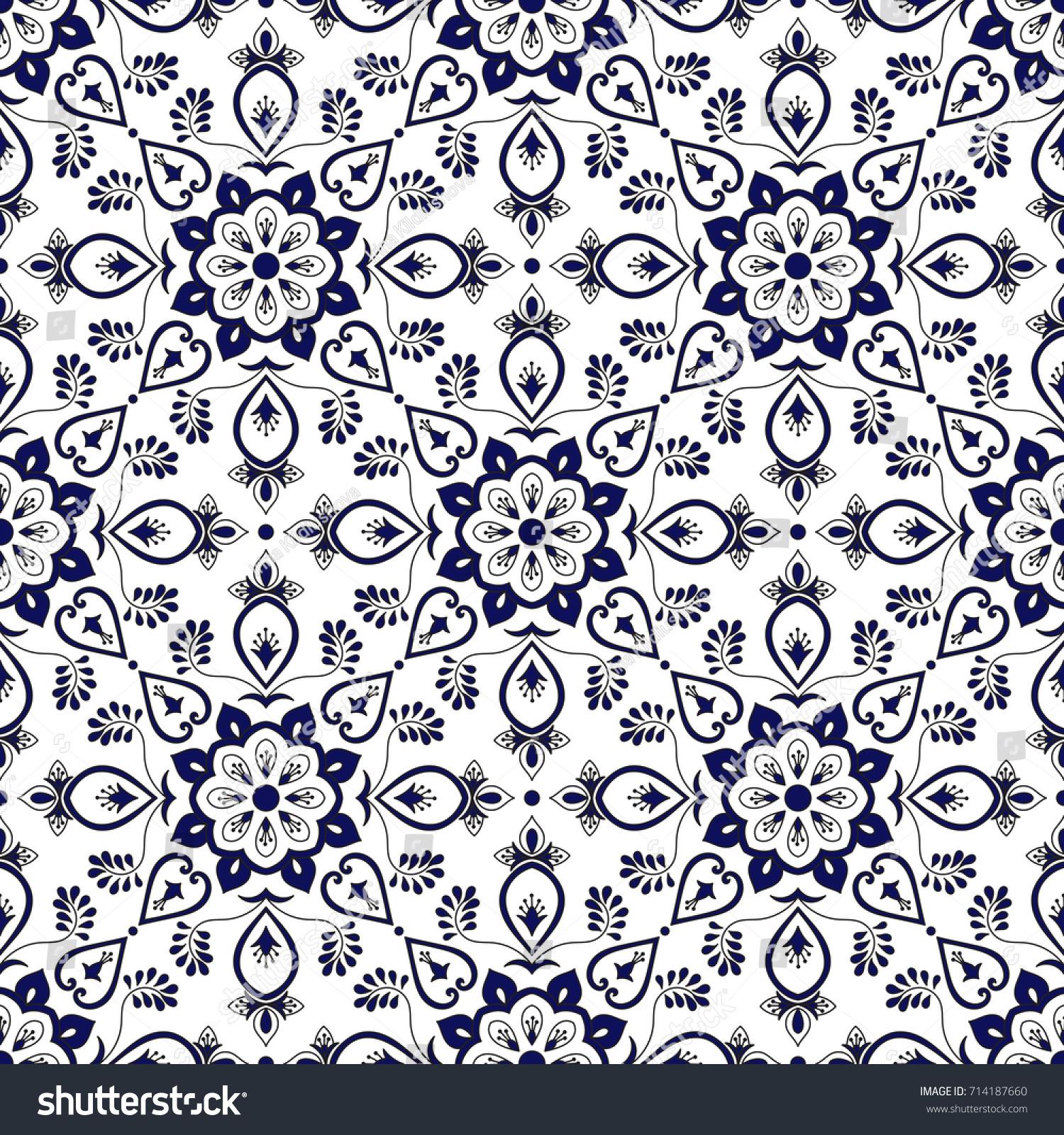 Spanish Tile Pattern Vector Blue White Stock Vector (Royalty Free ...