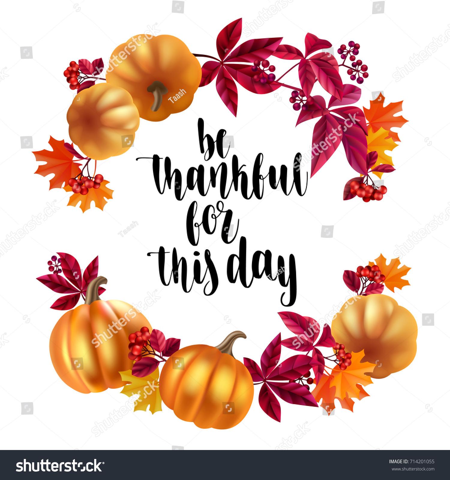 Thanksgiving Greeting Card Handwritten Brush Calligraphy And Autumn