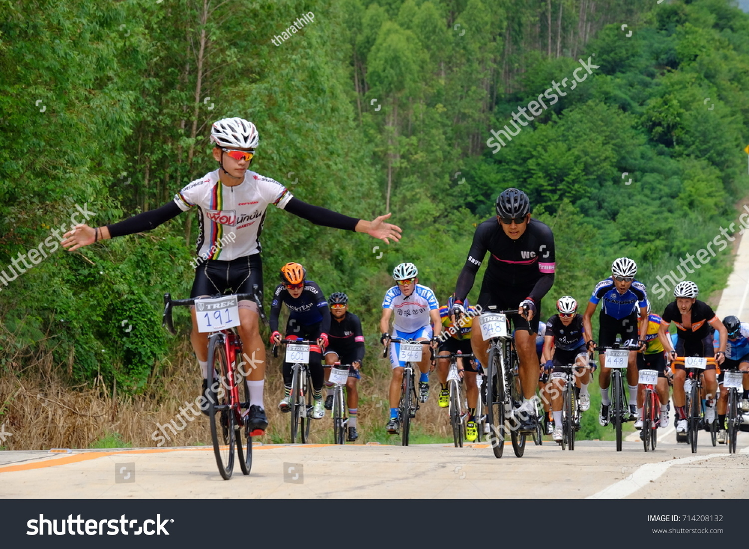 amateur athletes bicycle gesture fly when stock photo 714208132