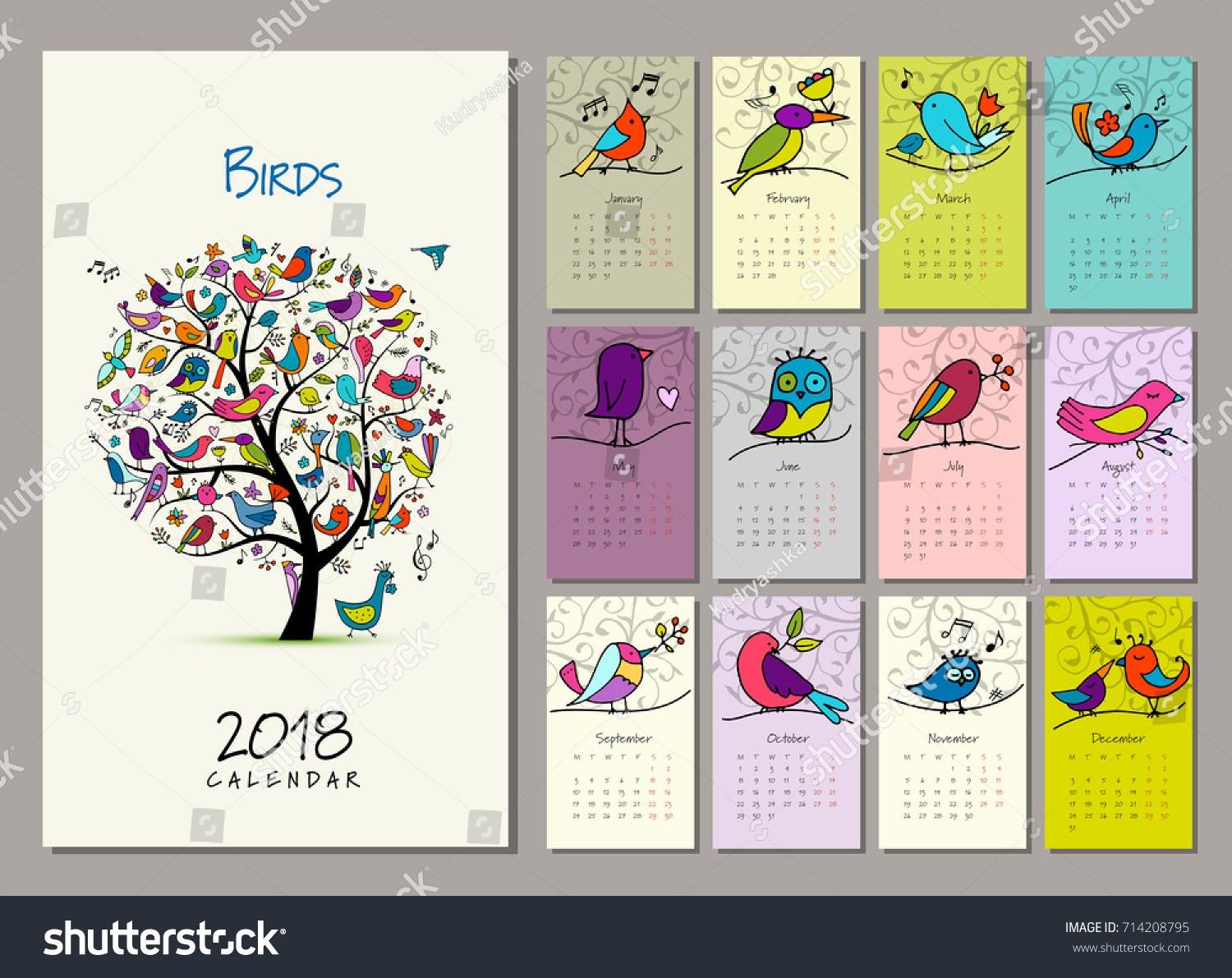 Calendar Illustration Vector : Birds tree calendar design vector stock