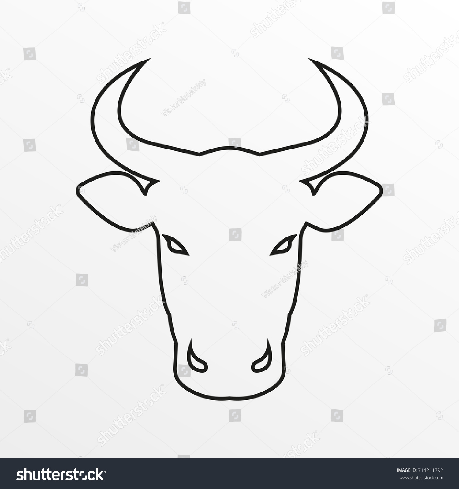 Bull Icon Cow Bull Head Horns Stock Illustration Royalty Free
