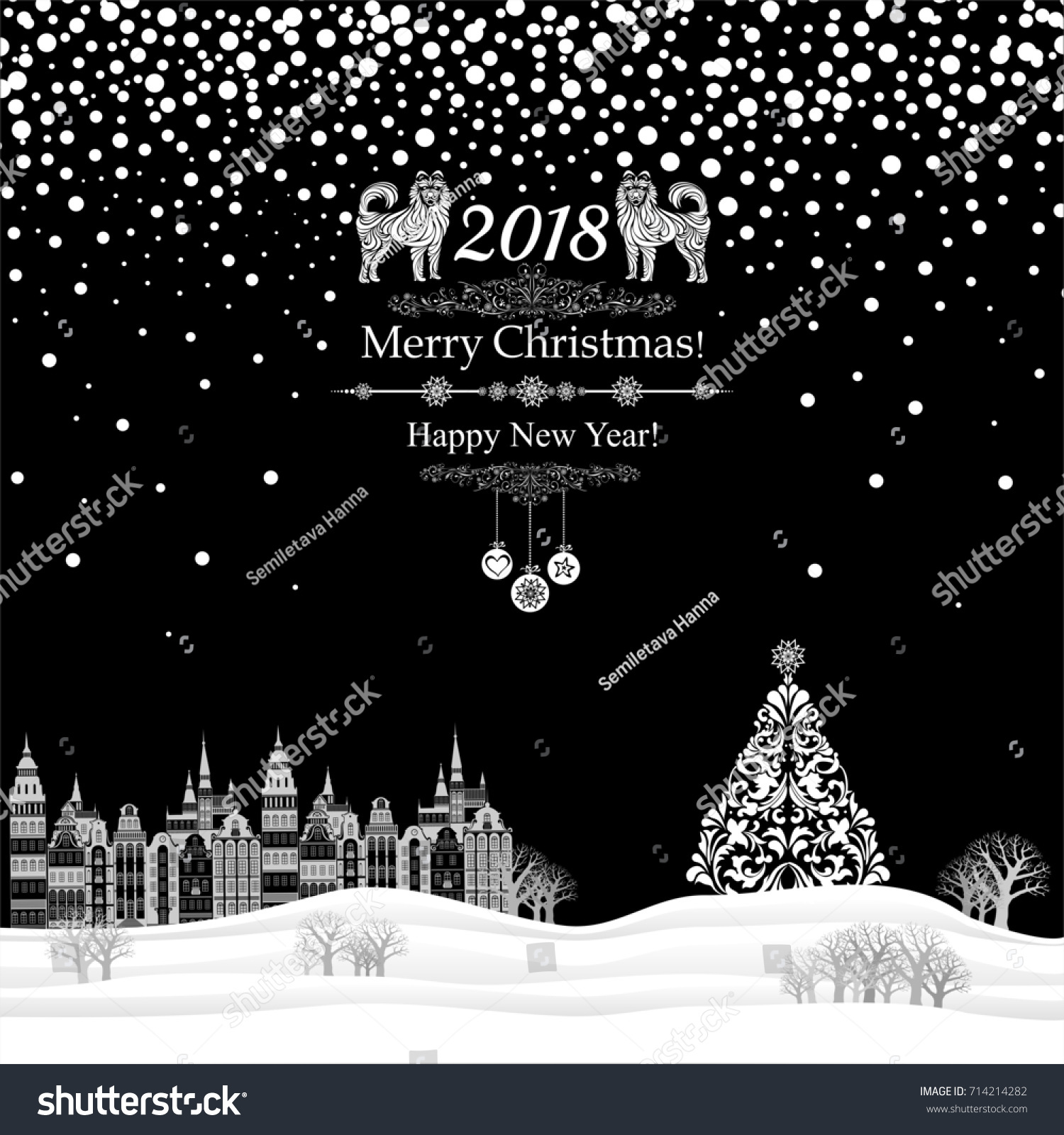 stock photo happy new year greeting card celebration black background with christmas landscape christmas jpg 1500x1600