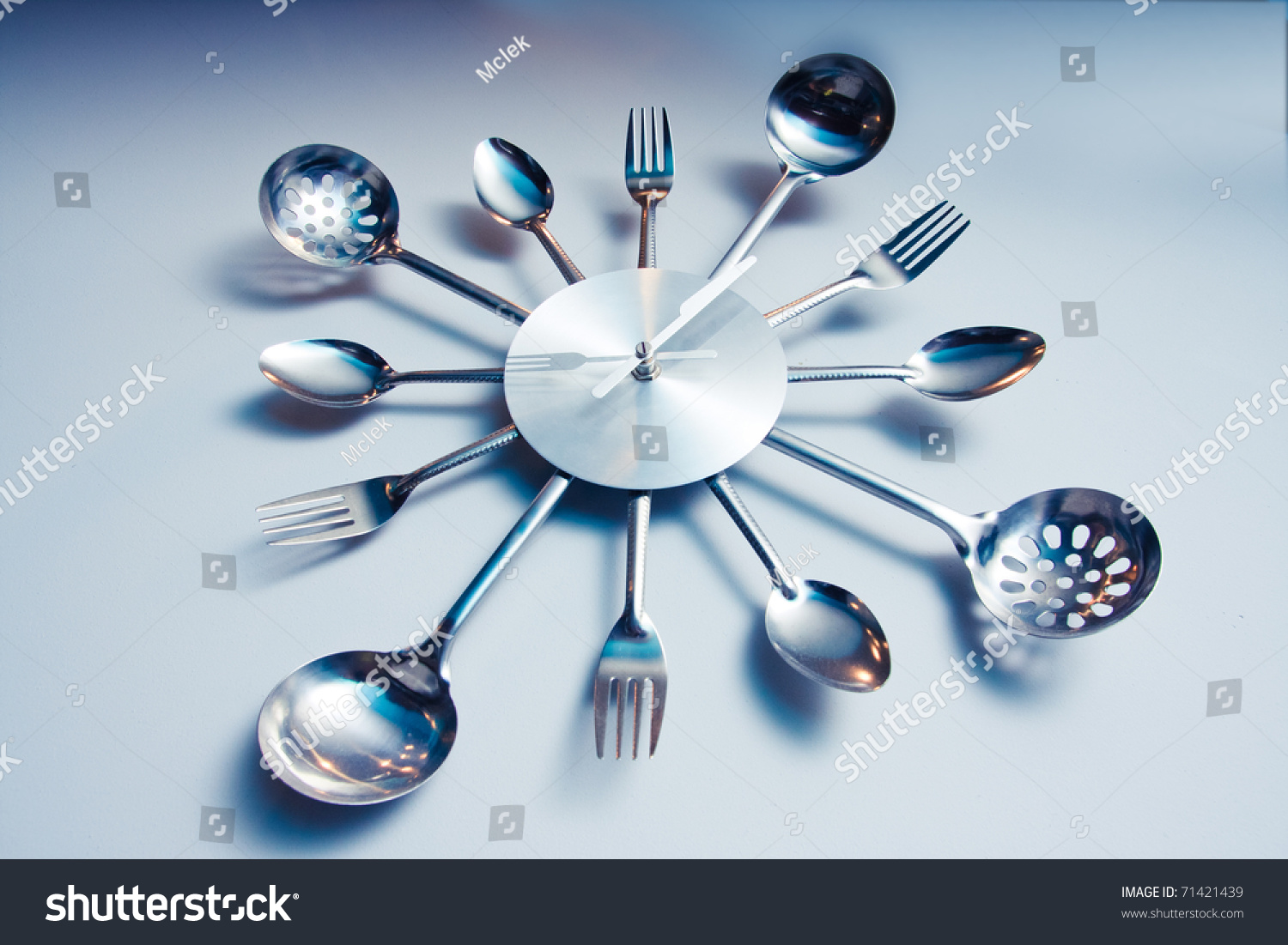 Kitchen Abstract Clock Witch Spoon Fork Stock Photo (Royalty Free ...