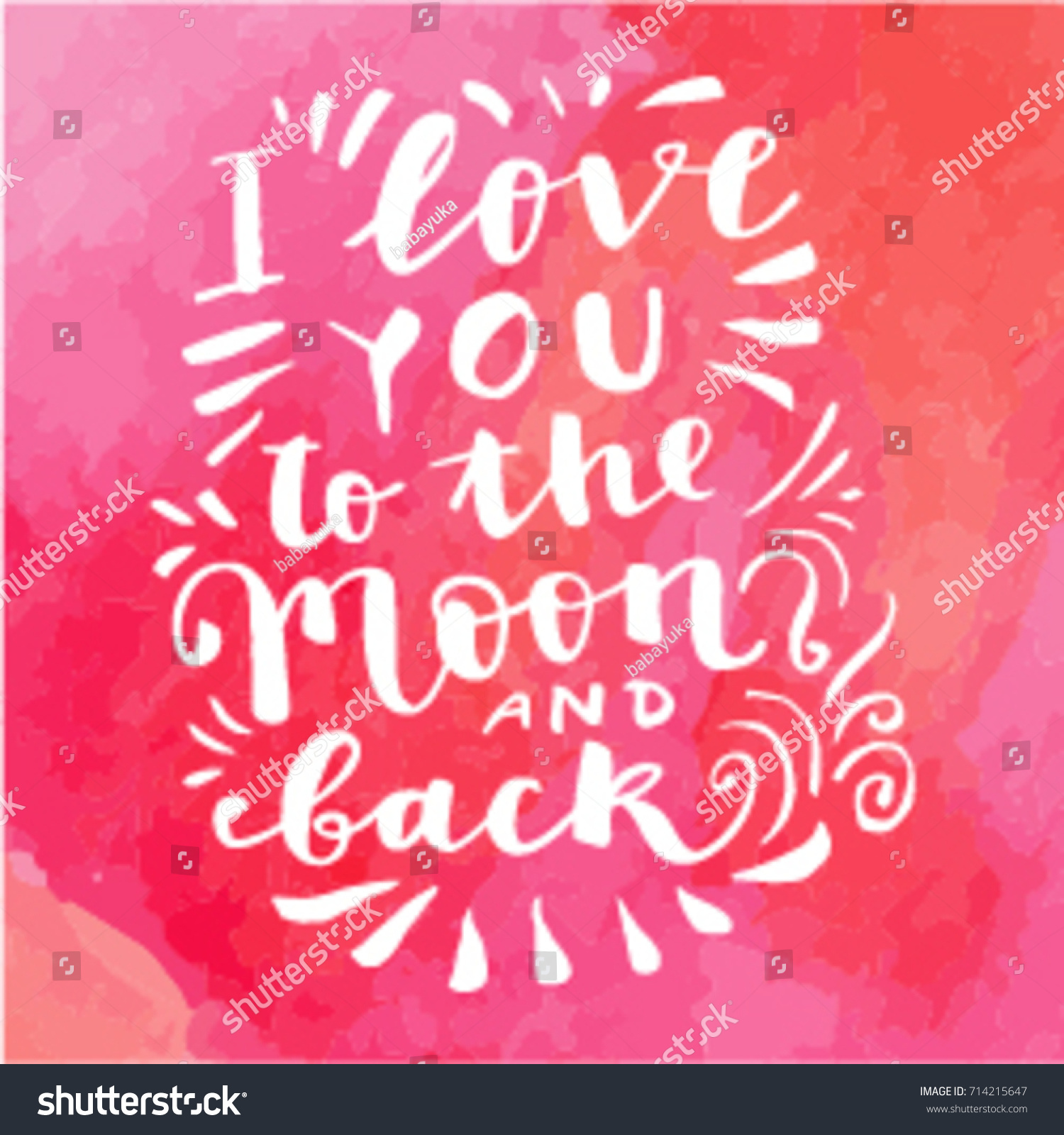 Love you moon back hand drawn stock vector 714215647 shutterstock i love you to the moon and back hand drawn calligraphic card on red watercolor textured kristyandbryce Images