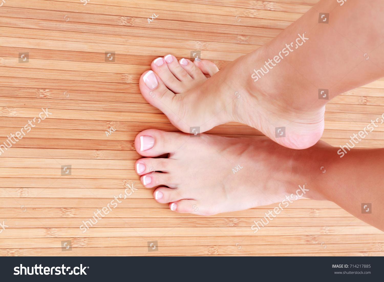 Healthy Female Feet French Nails Closeup Stock Photo (Royalty Free ...