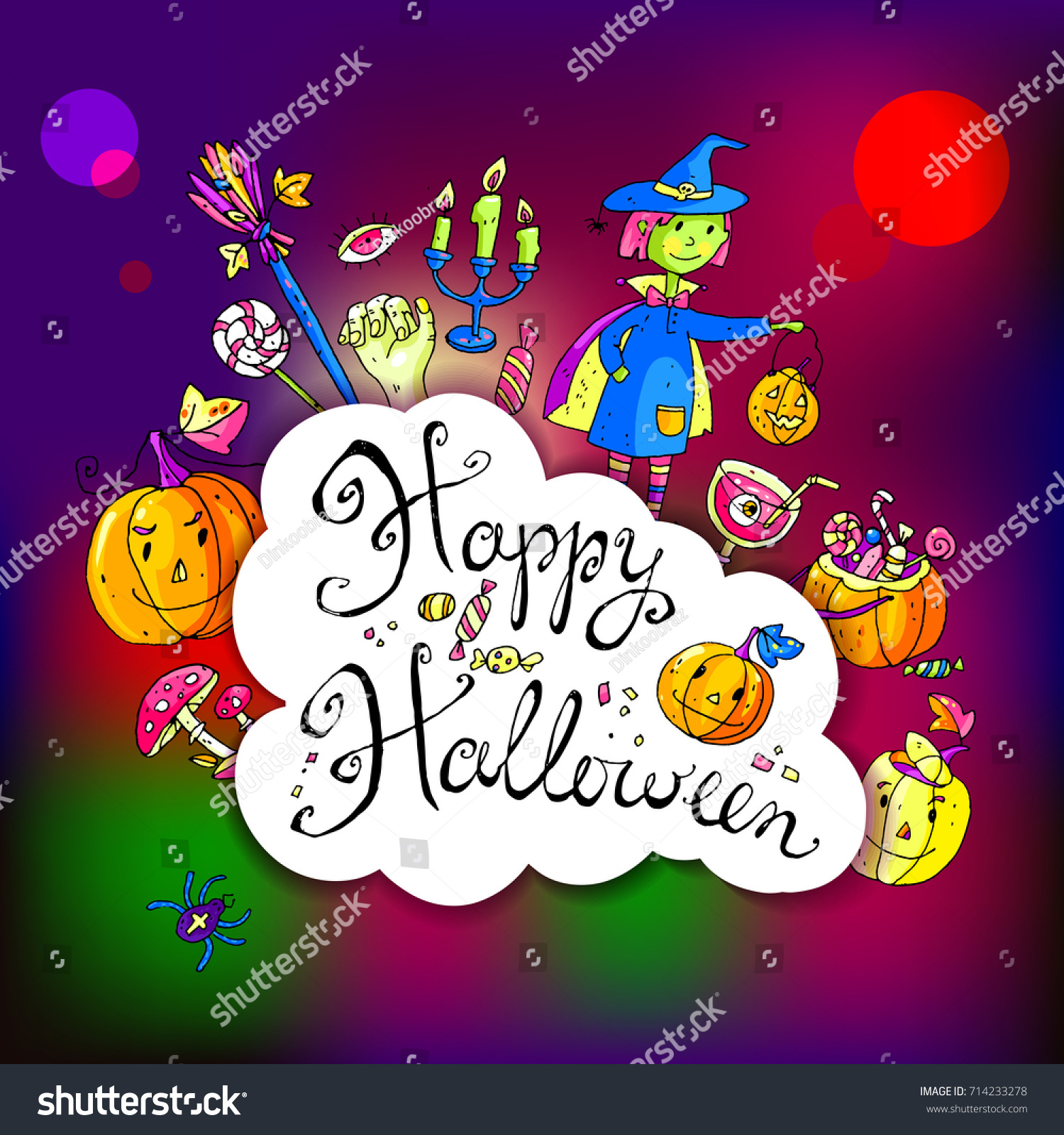 Hand Drawn Doodle Halloween Greeting Card Stock Illustration