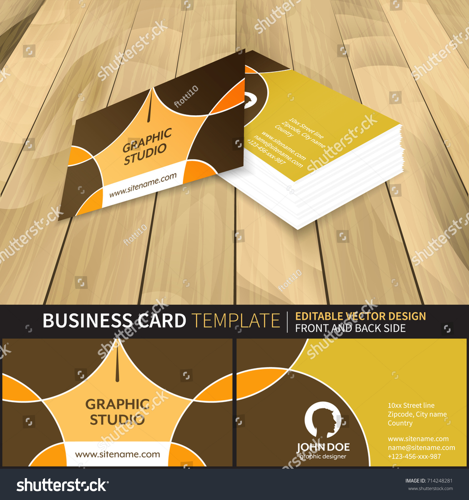 Business Card Template Graphic Studio Front Stock Vector 714248281 ...