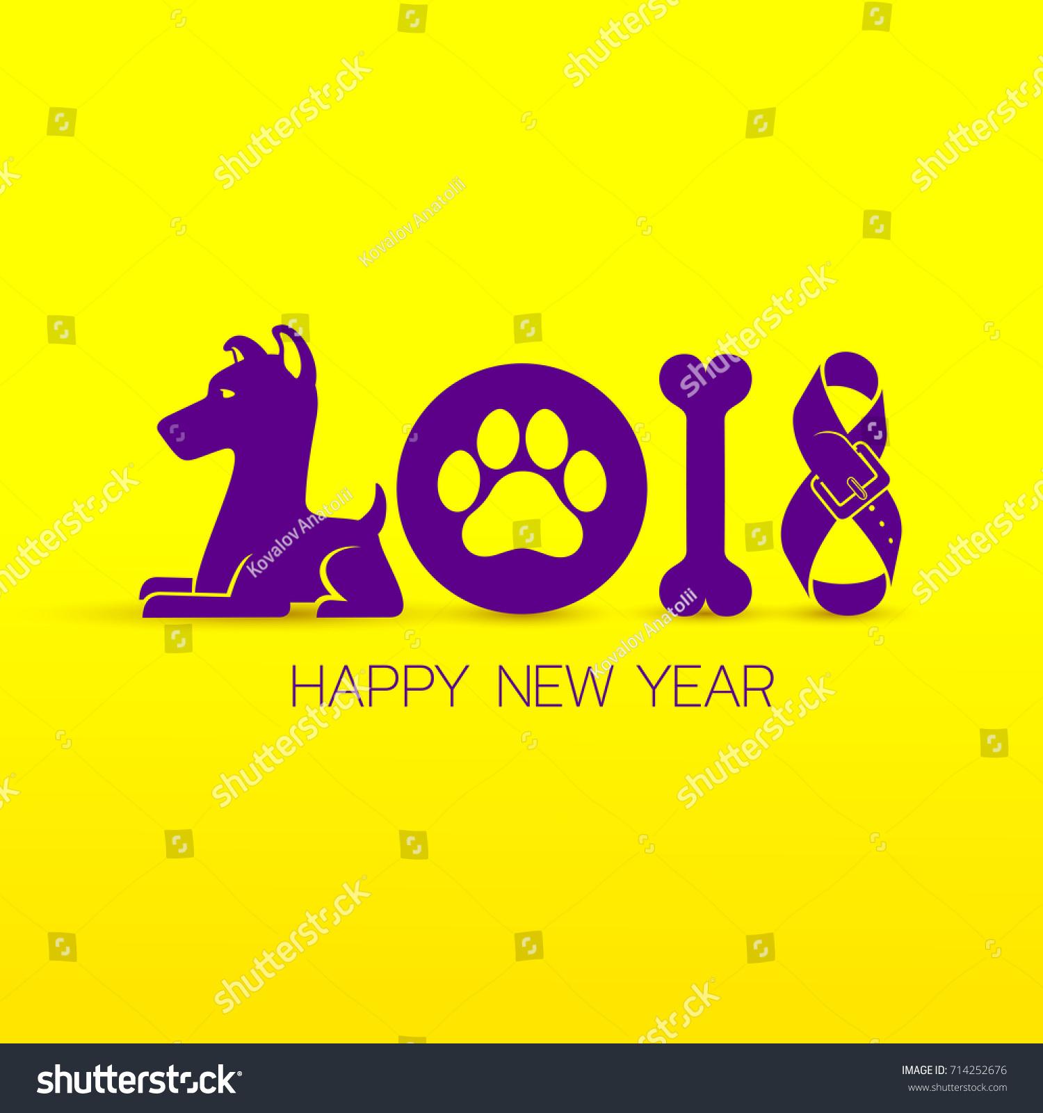 happy new year 2018 text design calendar dog symbols vector illustration isolated