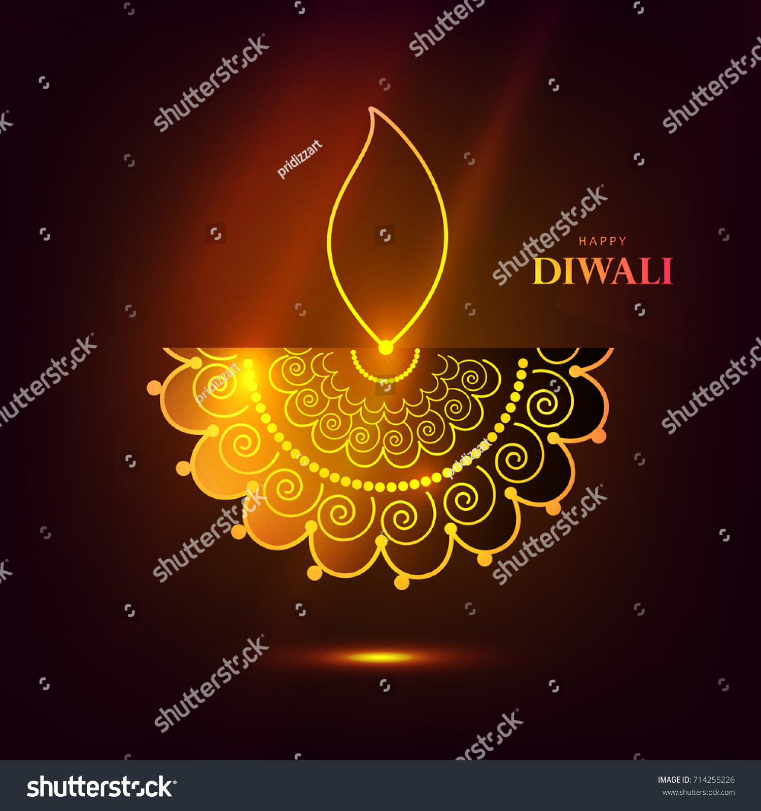 happy diwali wallpaper design template stock vector 714255226