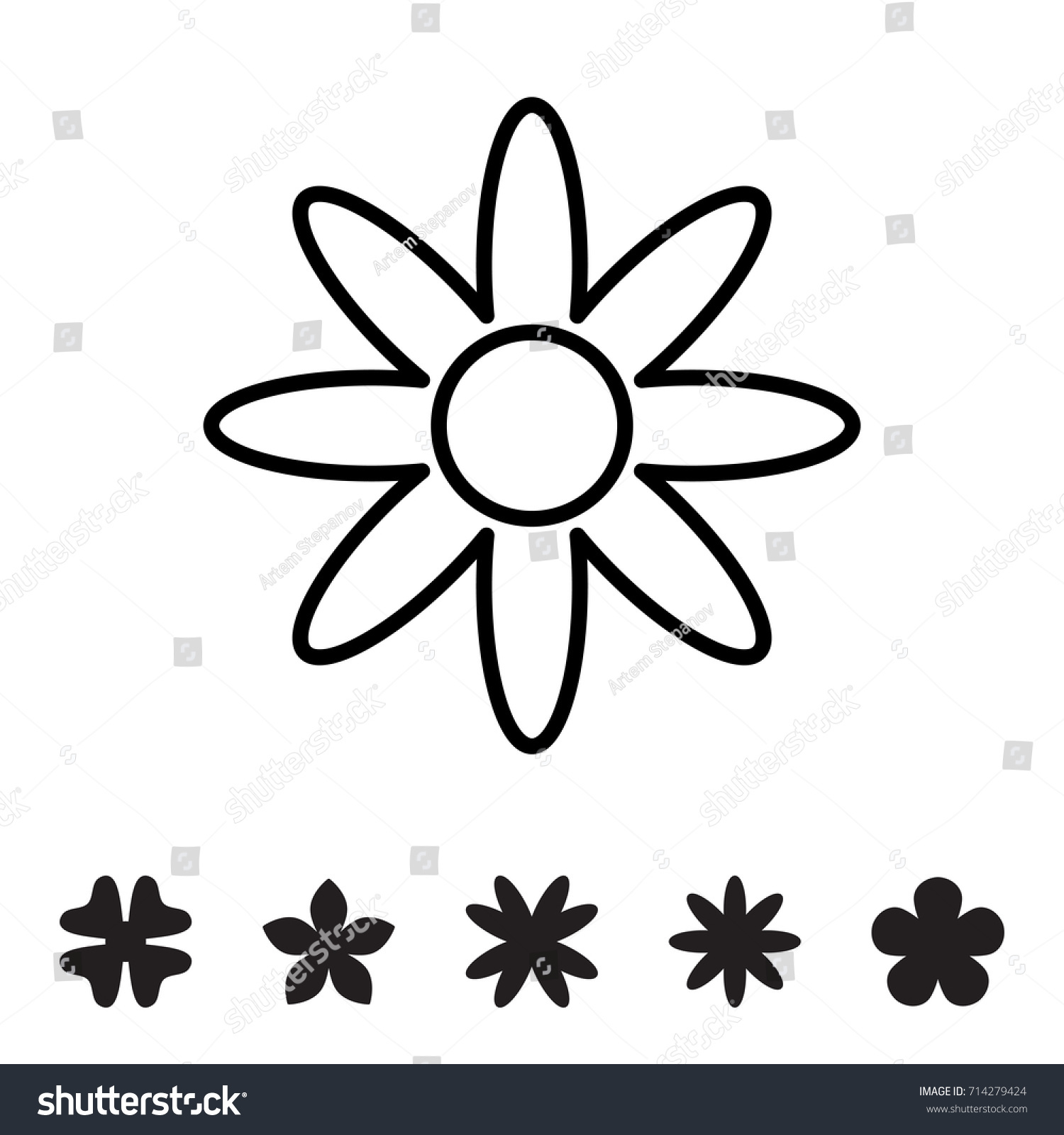 Flower icon collection daisy symbol logo stock vector 714279424 flower icon collection daisy symbol or logo template pictogram blossom silhouette biocorpaavc Choice Image