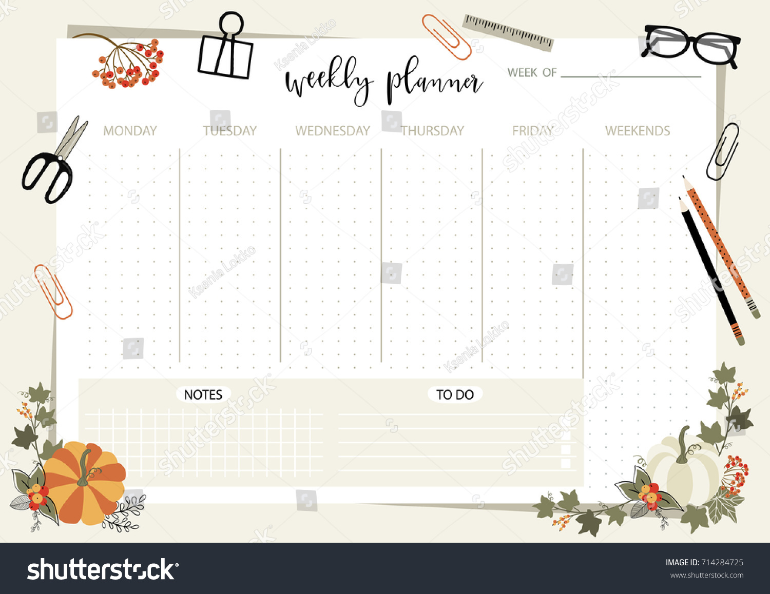 Weekly Planner Template Organizer And Schedule With Place For Notes Vector Illustration Cute