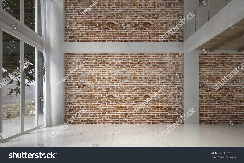 Interior Design Empty Living Room Leather Stock Illustration