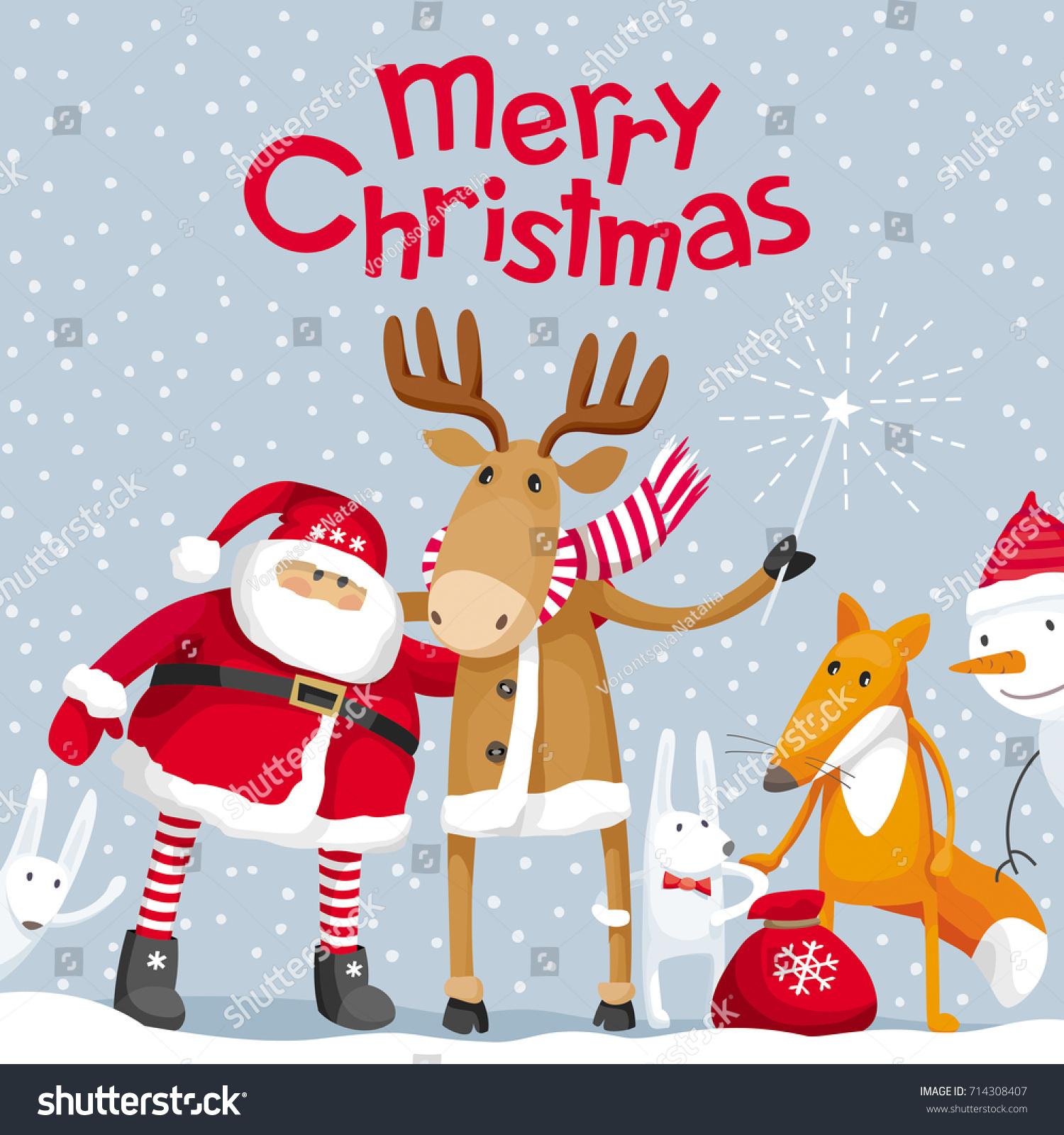 Vector Christmas Greeting Card Santa Claus Stock Vector Royalty