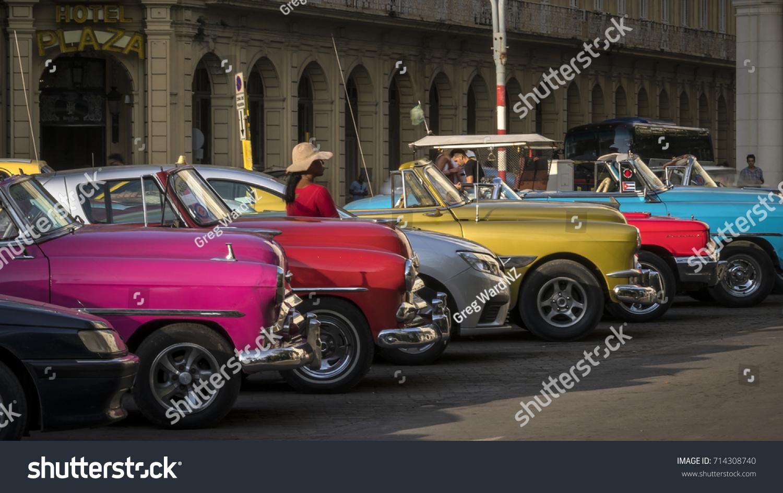 Havana August 16 Classic American Cars Stock Photo 714308740 ...