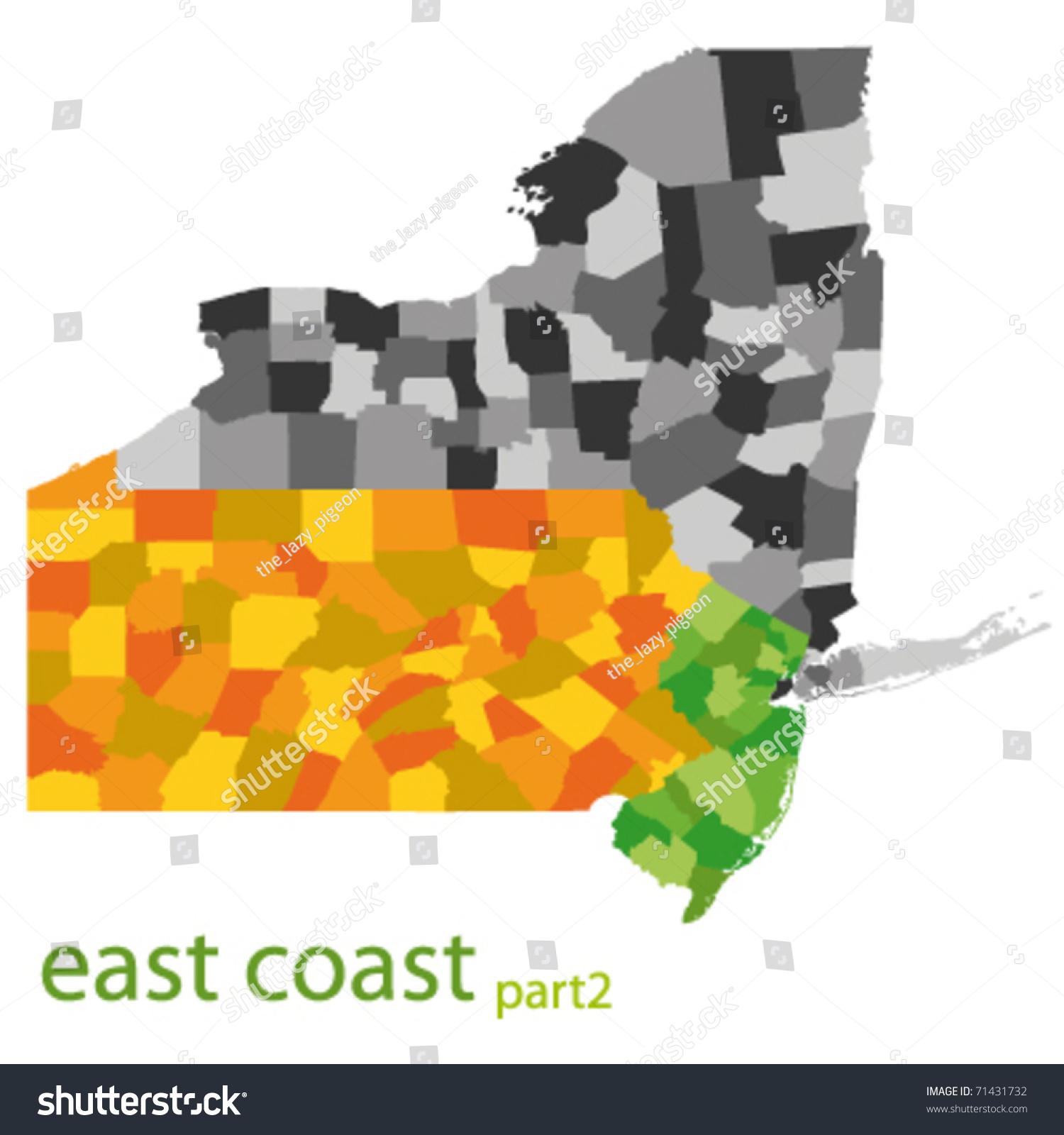 Usa East Coast Vector Map Stock Vector 71431732 Shutterstock