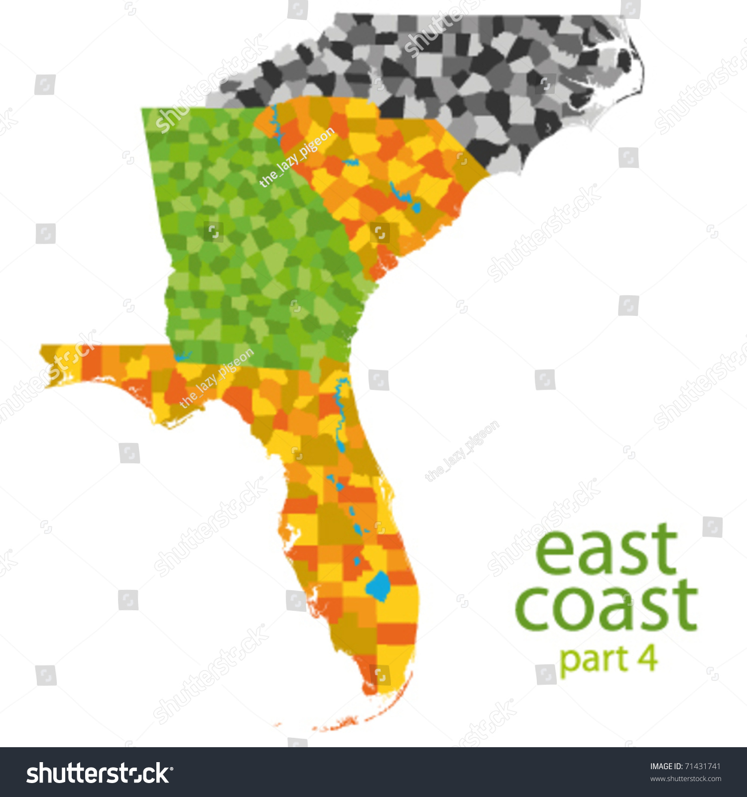 Usa East Coast Vector Map Stock Vector  Shutterstock - Map of east coast on usa