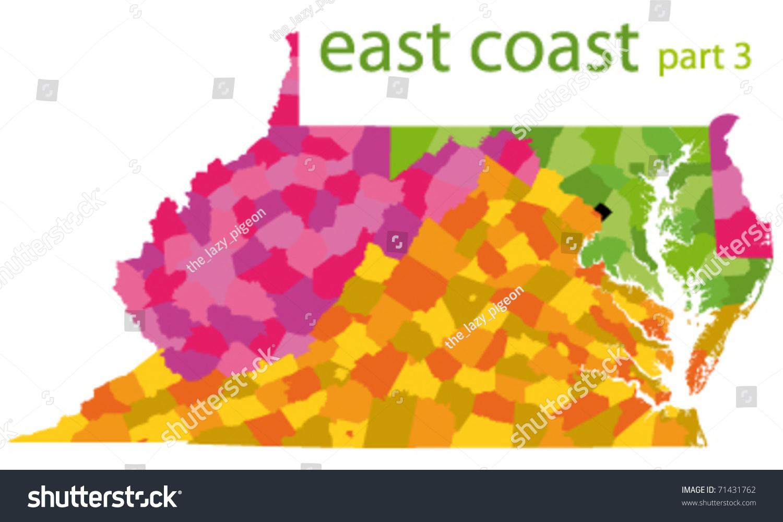 Usa East Coast Vector Map Stock Vector 71431762 Shutterstock
