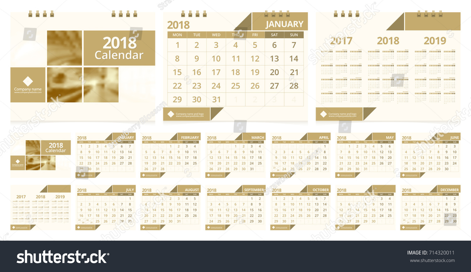 Calendar 2018 Week Start On Monday Stock Vector 714320011 - Shutterstock