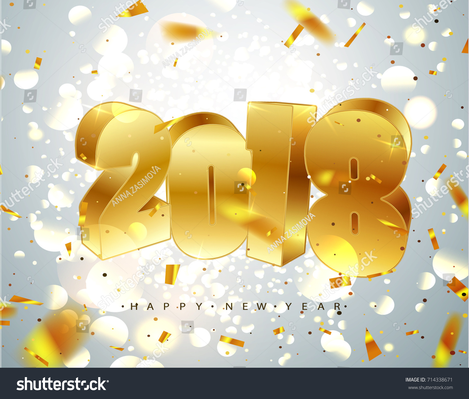 2018 Happy New Year Gold 3 D Stock Vector Royalty Free 714338671