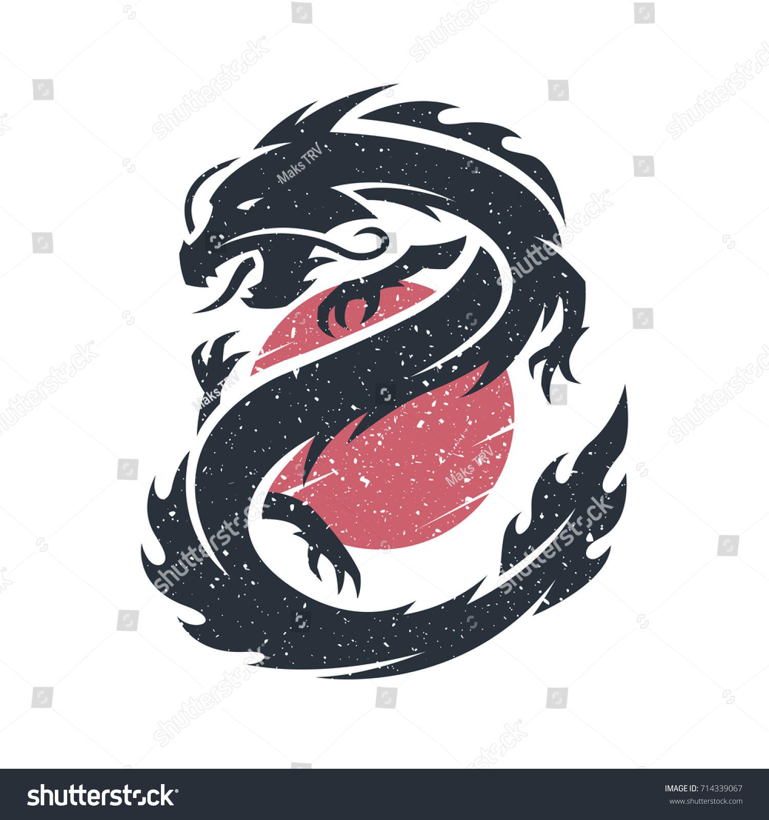 Chinese Dragon On Background Sun Logo Stock Illustration 714339067