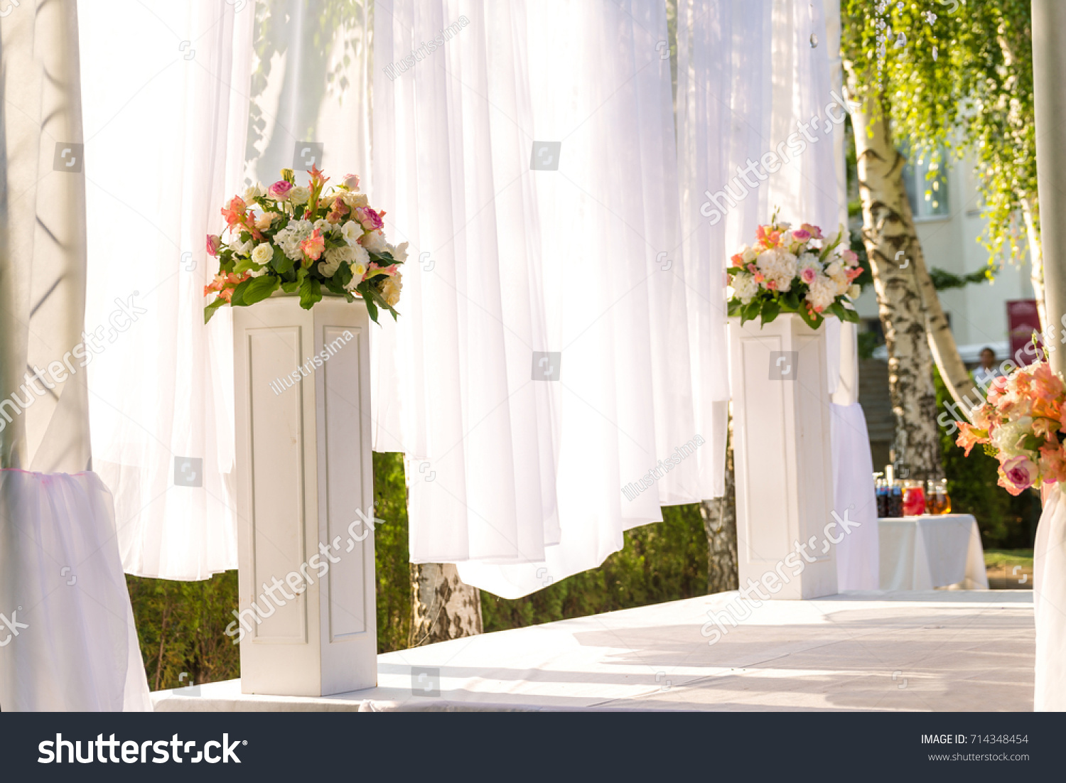 Floral Wedding Decorations Pink White Garland Stock Photo (Royalty ...