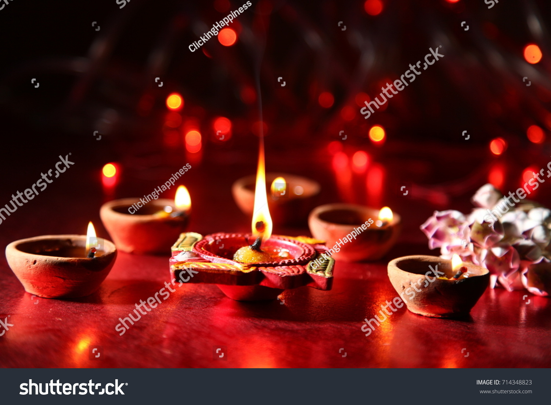 Diwali Greetings Diya Lighting Ez Canvas