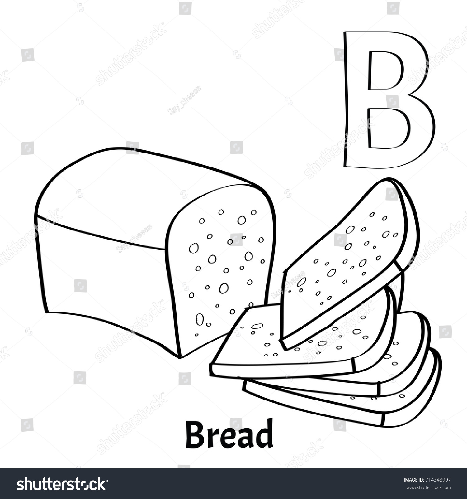 Vector Alphabet Letter B Coloring Page Bread