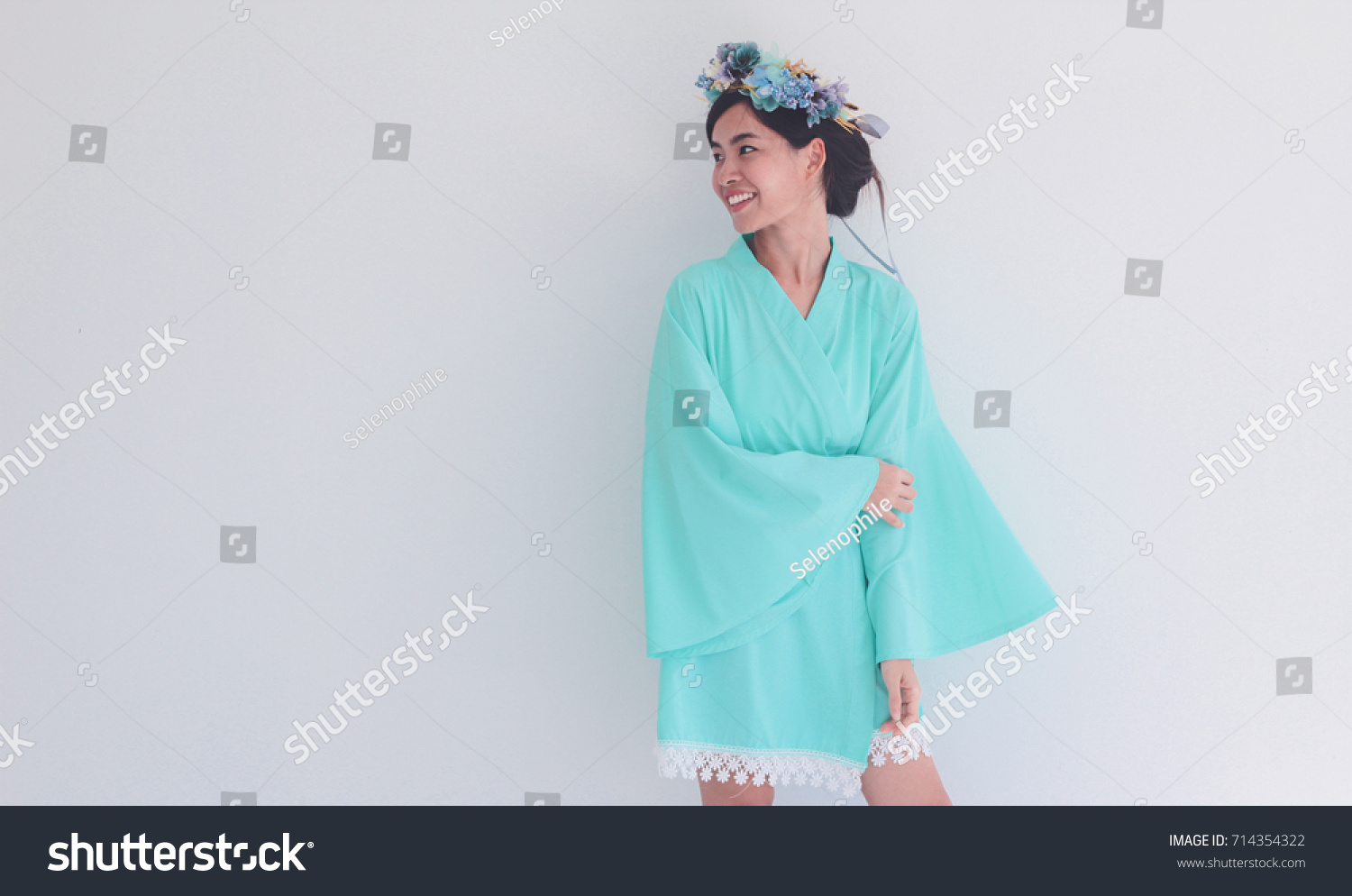 Asian Lady Dressing Gown Flower Crown Stock Photo (Royalty Free ...