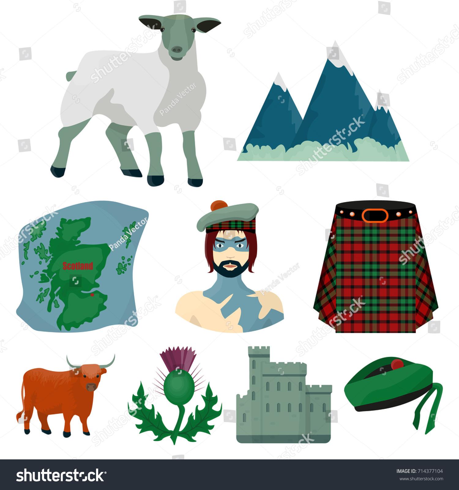National Symbols Scotland Scottish Attractions Scotland Stock Vector