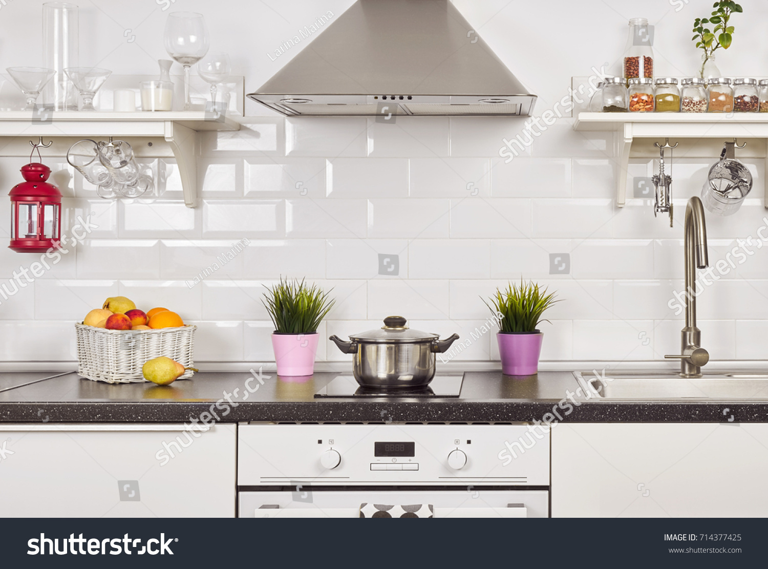 Interior Light Kitchen Apartment Bright Home Stock Photo (Royalty ...