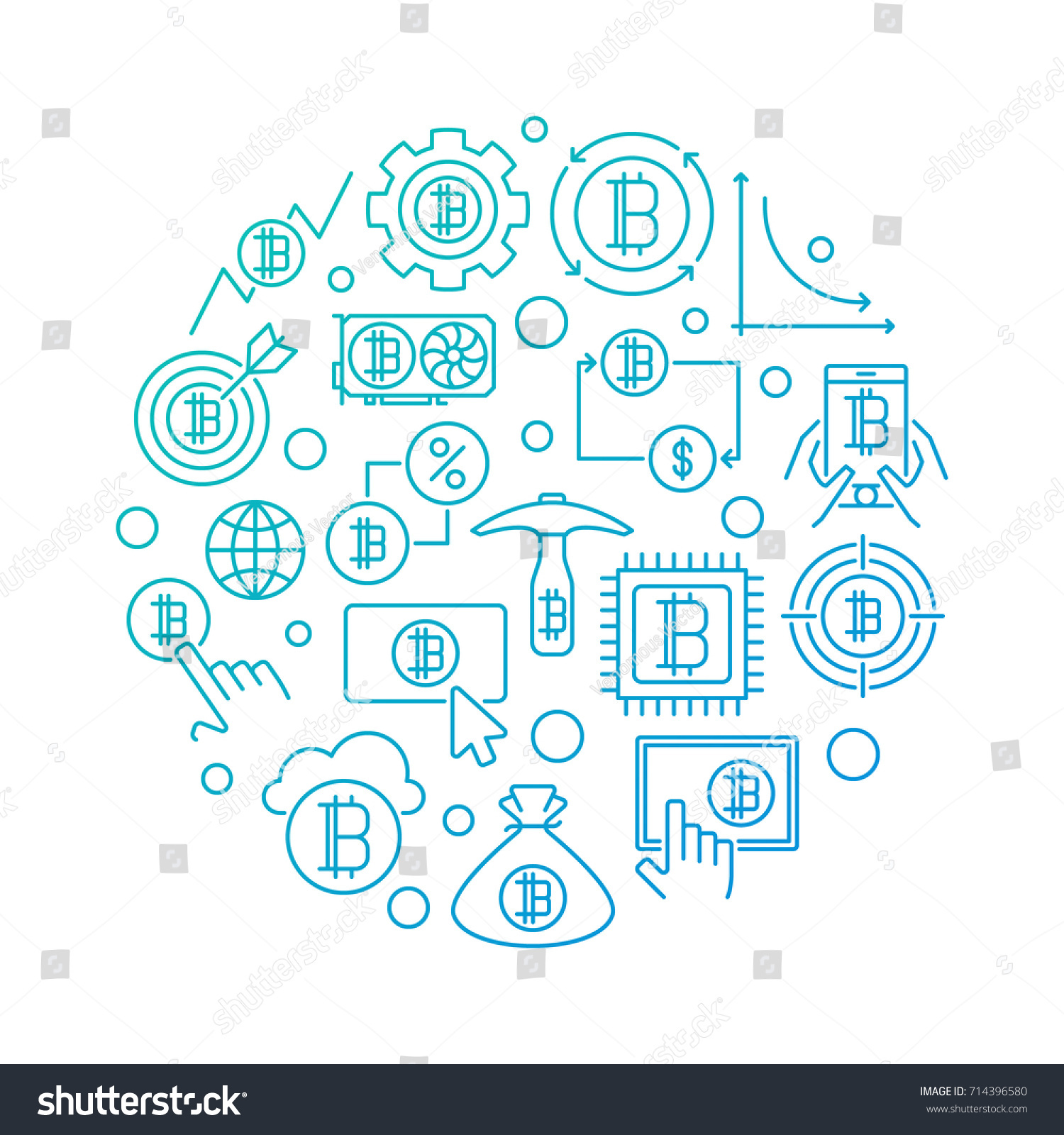 Colorful Crypto Currency Round Symbol Vector Stock Vector (Royalty ...