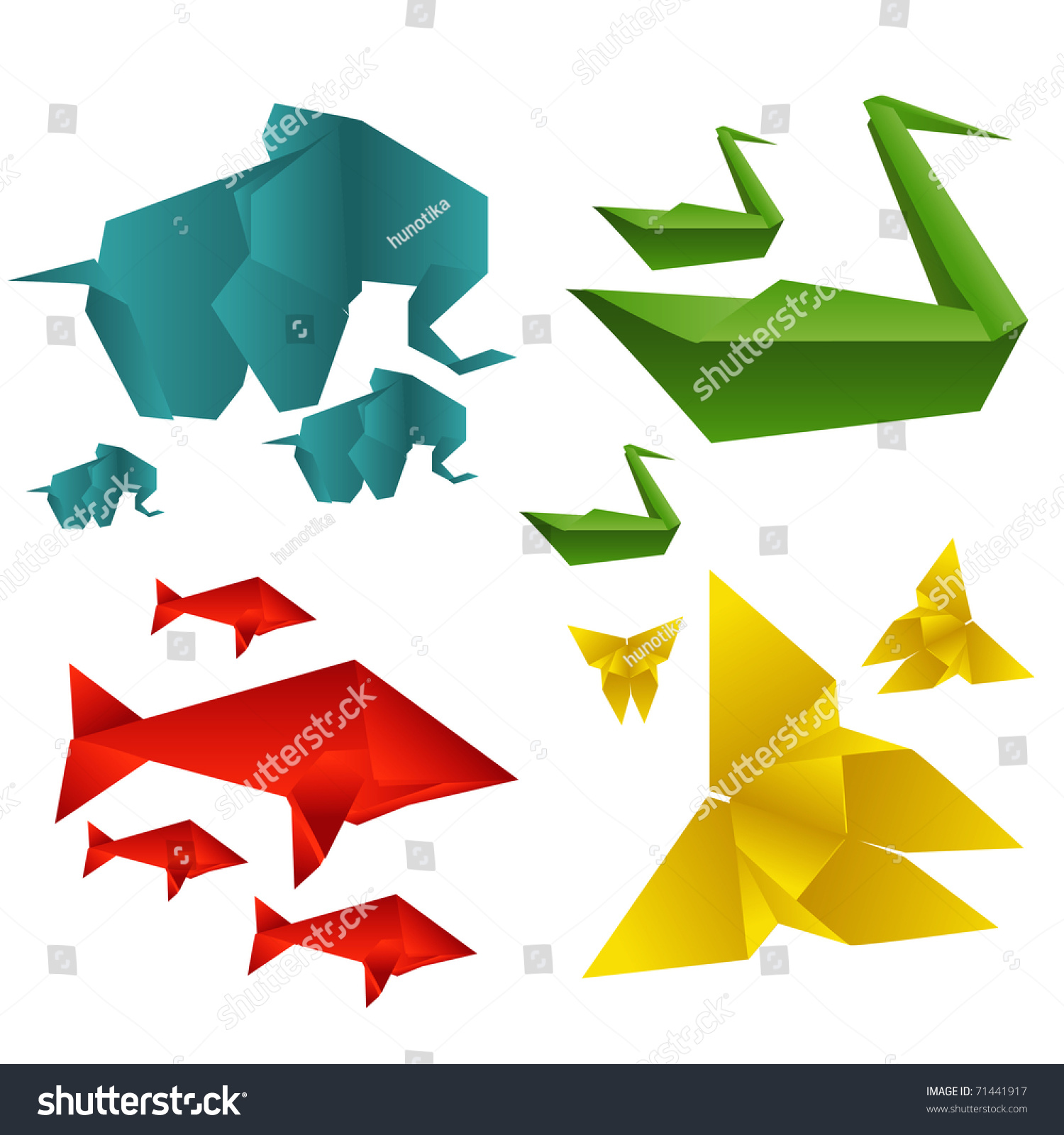 Animal Origami Set Stock Vector Royalty Free 71441917 Shutterstock