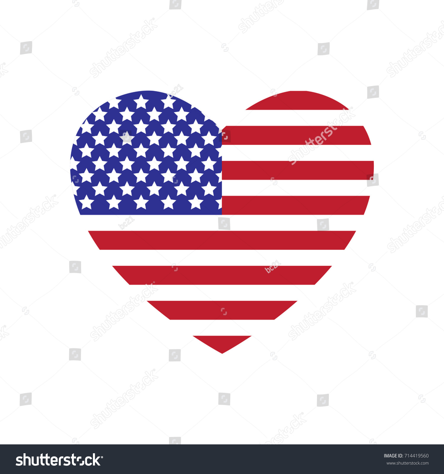heart american flag suitable wall art stock vector royalty free